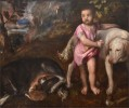 """Titian (1485 / 1490-1576). """"Boy With Dogs"""" (1565-1576)."""