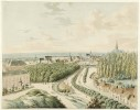 Drawing by J. van Leeuwen (1822) with on the right the poplars that were part of the park and had to compensate for the castle mass. Museum Het Valkhof, Nijmegen